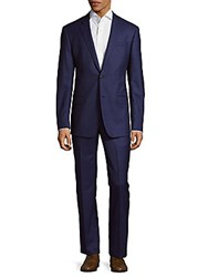 Michael Kors Check Wool Suit Blue