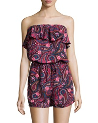 Romeo And Juliet Couture Strapless Woven Paisley Romper Multicolor