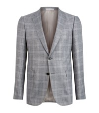 Armani Collezioni Prince Of Wales Checked Suit Jacket Male Grey