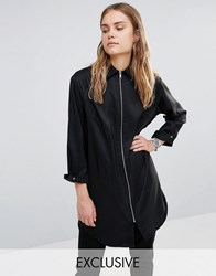 House Of Sunny Essential Zip Front Shirt Black