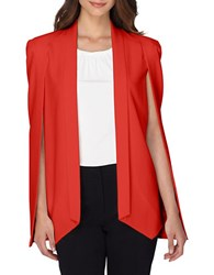 Tahari By Arthur S. Levine Shawl Collar Open Cape Jacket Red