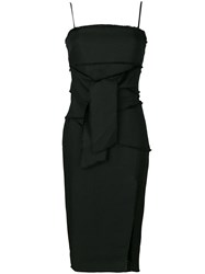 Misha Collection Raw Edge Waist Tie Dress Polyester Spandex Elastane Black