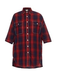R 13 X Oversized Cotton And Linen Blend Plaid Shirt