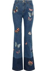 Valentino Embroidered Two Tone Mid Rise Bootcut Jeans Mid Denim