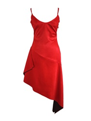 Joana Almagro Red Faux Suede Dress