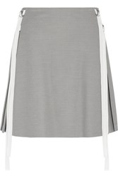 Adeam Pleated Stretch Crepe Mini Skirt Gray