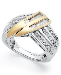 Macy's Sterling Silver And Diamond Twist Ring In 14K Gold 1 2 Ct. T.W.
