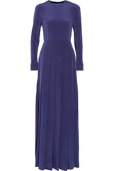Valentino Pleated Silk Maxi Dress Navy