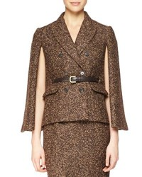 Michael Kors Double Breasted Cape Jacket Chocolate Barley