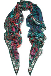 Emilio Pucci Printed Cashmere And Silk Blend Scarf Multi