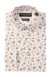 Nick Graham Long Sleeve Modern Fit Small Floral Dress Shirt White