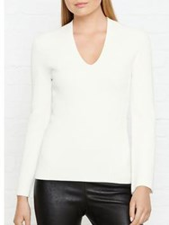 Whistles Fluted Sleeve Knitted Top Ivory