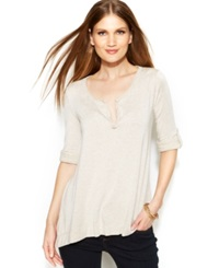 Studio M Roll Tab Sleeve Split Neck Tunic Heather Bone