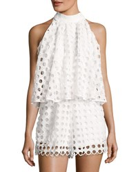 Romeo And Juliet Couture Eyelet Popover Sleeveless Romper White