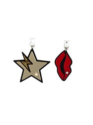Stella Mccartney Star And Lips Clip On Earrings Red