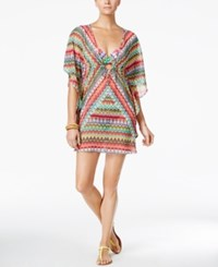 Bleu By Rod Beattie In Living Color Printed Caftan Cover Up Women's Swimsuit Multi