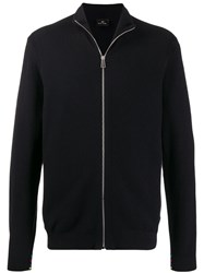 Paul Smith Ps Zipped Knitted Bomber Blue