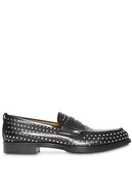 Burberry D Ring Detail Studded Leather Loafers Black
