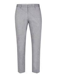 Topman Blue Cotton Relaxed Fit Cropped Smart Trousers