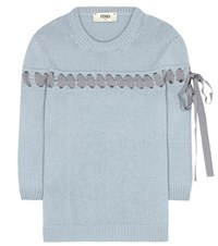 Fendi Ribbon Stitched Cashmere Sweater Grey