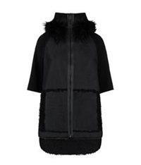 Elie Tahari Joey Fur Hood Cape Black