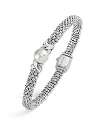 Lagos Luna Sterling Silver Caviar Bracelet With Pearl White Silver