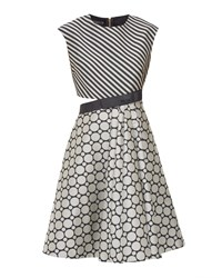 Ted Baker Reetah Stripe And Circle Cut Out Dress Black