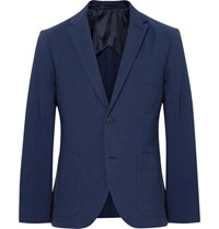 Club Monaco Blue Grant Slim Fit Cotton Seersucker Blazer Navy