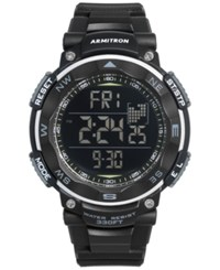 Armitron Men's Digital Black Silicone Strap Watch 51Mm 40 8254Blk