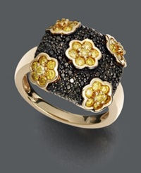 Macy's Yellow Diamond 1 Ct. T.W. And Black Diamond Accent Square Flower Ring In 14K Gold
