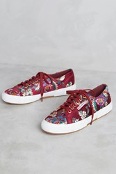 Anthropologie Superga Embroidered Satin Sneakers Wine