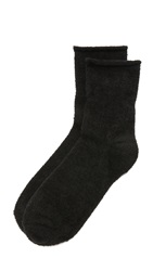 Plush Rolled Fleece Socks Black