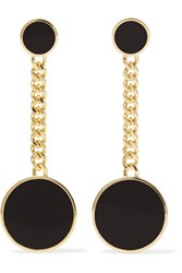 Arme De L'amour Gold Plated Enamel Earrings Black Usd