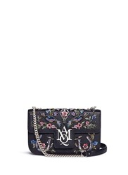 Alexander Mcqueen 'Insignia' Floral And Bird Embellished Leather Satchel Multi Colour
