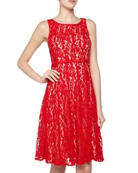 Taylor Sleeveless Floral Lace And Bow Cocktail Dress Red