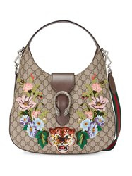 Gucci Dionysus Embroidered Medium Gg Supreme Hobo Women Canvas Leather Metal Cotton One Size Nude Neutrals