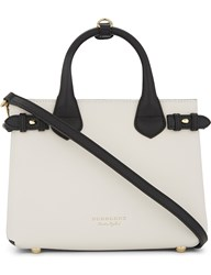 Burberry Banner Small Leather Tote Black White