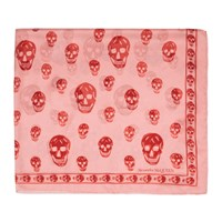 Alexander Mcqueen Pink And Red Skull Scarf