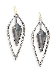Alexis Bittar Miss Havisham Kinetic Gun Hematite And Crystal Long Kite Orbit Drop Earrings Gunmetal