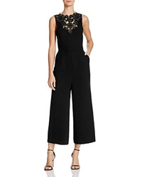 Whistles Embroidered Cutwork Jumpsuit Black