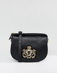 Polo Ralph Lauren Saddle Bag In Leather With Crest Black