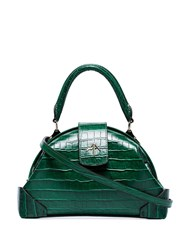 Manu Atelier Demi Crocodile Embossed Cross Body Bag Green