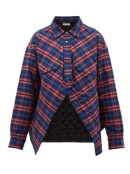 Balenciaga Swing Canadian Checked Cotton Flannel Shirt Red Multi