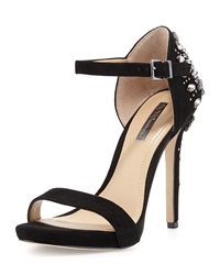 Bcbgmaxazria Estelle Jeweled Ankle Strap Suede Sandal Black