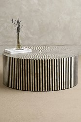Anthropologie Rounded Inlay Coffee Table Black And White