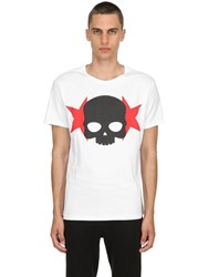 Hydrogen Skull And Stars Cotton Jersey T Shirt White