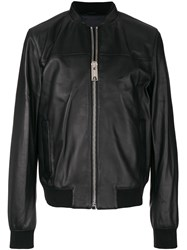 Les Hommes Leather Bomber Jacket Black