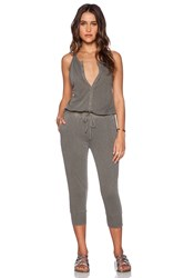 Stateside Button Front Jumpsuit Army
