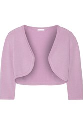 Oscar De La Renta Cropped Cashmere And Silk Blend Cardigan Purple