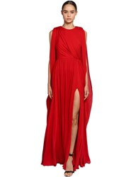 Elie Saab Draped Crepe Georgette Dress Red